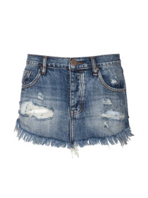 4040 Distressed Denim MIni Skirt in Blue Suede