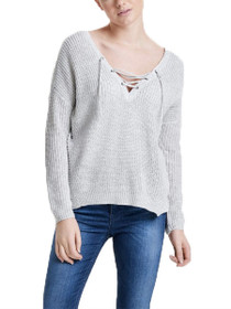 Peyton Long Sleeve Lace-Up Pullover Knit