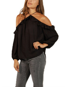 Carly Halter Cold Shoulder Ruffle Top