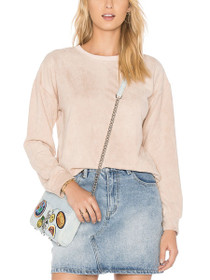 Suede Crew Neck Drawstring Sweater