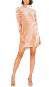Pleated Velvet Long Sleeves Dress