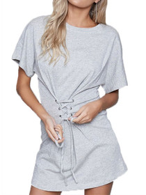 Corset Sweat Mini Short Sleeve Dress
