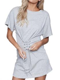 Corset Sweat Mini Short Sleeve Dress