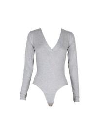 V-Neck Knit Long Sleeve Bodysuit
