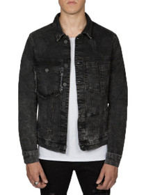 Distressed Retooled Trucker Denim Jacket in Acid Black