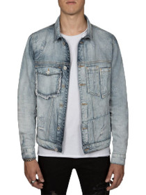 Distressed Retooled Trucker Denim Jacket in Light Blue