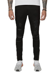 Distressed Patched Everyday Denim in Jet Black