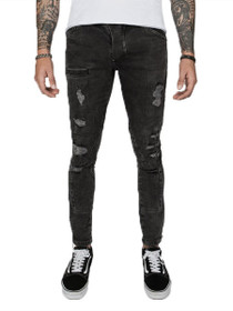 Distressed Patched Future Denim in Acid Black