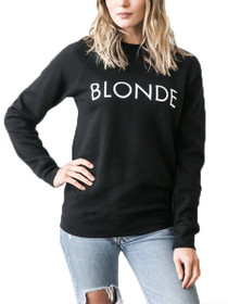Blonde Crew Neck Graphic Sweater in Black