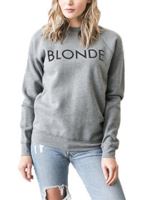 Blonde Crew Neck Graphic Sweater in Grey