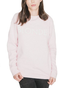 Blonde Crew Neck Graphic Sweater in Pink