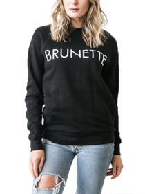 Brunette Crew Neck Graphic Sweater in Black