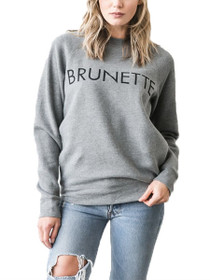 Brunette Crew Neck Graphic Sweater in Grey