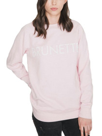 Brunette Crew Neck Graphic Sweater in Pink