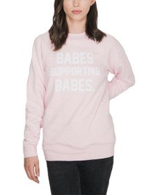 Babes Supporting Babes Crew Neck Sweater in Pink