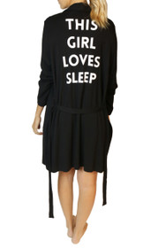 This Girl Loves Sleep Graphic Robe in Black