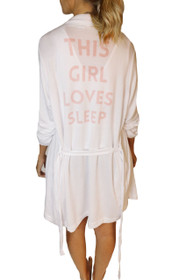This Girl Loves Sleep Graphic Robe in White