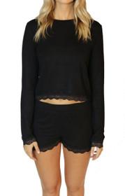 New Romantics Lace Trim PJ Set in Black