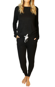 Wildest Dreams Slouchy PJ Set in Black