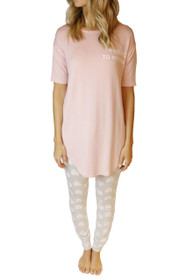 Allergic To Mornings PJ Set in Blush/Grey