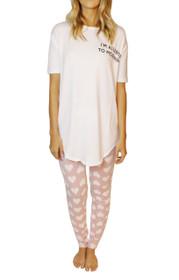 Allergic To Mornings PJ Set in White/Blush