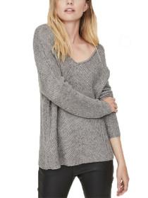 Buena Lena Long Sleeve V-Neck Lace Knit Blouse