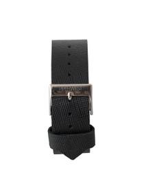 Leather Strap in Black Saffiano/Silver