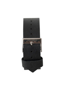 Leather Strap in Black Saffiano/Silver