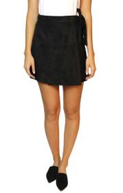 Viva Vegan Suede Wrap Mini Skirt