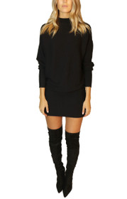 Juno Mock Neck Ribbed Knit Sweater Dress