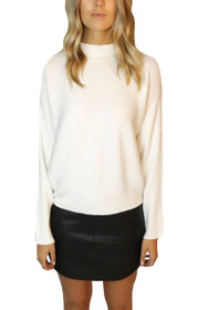 Juno Mock Neck Rib Knit Sweater