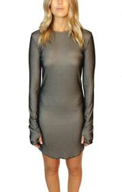 Closer Ribbed Long Sleeve Dress with Thumb Holes