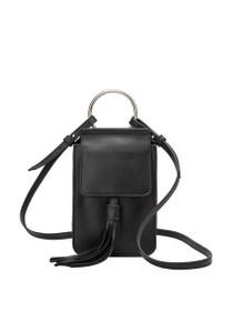 Dory Tassel Crossbody Vegan Bag in Black