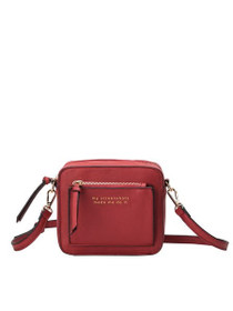 Evan Quote Crossbody Vegan Bag in Wine