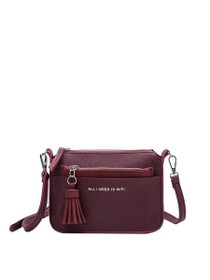 Aida Tech Inspired Crossbody Vegan Bag in Burgundy