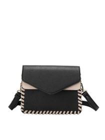 Elda Whipstitch Vegan Crossbody Bag in Black