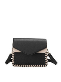 Elda Whipstitch Vegan Crossbody Bag in Black
