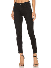 Farrah Skinny Frayed Ankle Denim in Black Storm