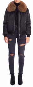 Rella-Sa Bomber Cut Jacket With Fur-Lined Collar
