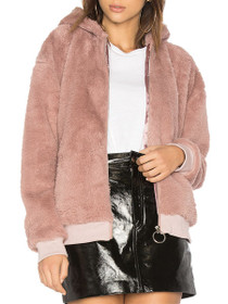 Furry Hooded Zip Jacket