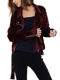 Soft Touch Velvet Biker Jacket