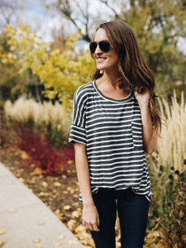 Live In It Striped Boyfriend Tee