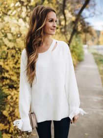 Snuggle Up Tie Sleeve Sweater