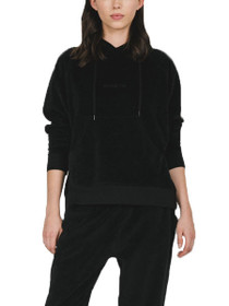 Blonde Elle Velour Pullover Hoodie in Black