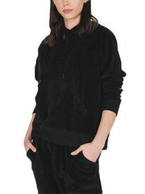 Brunette Elle Velour Pullover Hoodie in Black