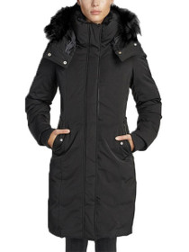 Lina Long Length Vegan Storm Coat in Black