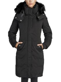 Lina Long Length Vegan Storm Coat in Black