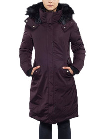 Lina Long Length Vegan Storm Coat in Wine
