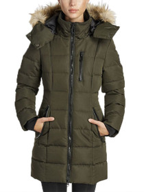 Hannah Mid Length Hooded Vegan Jacket in Forest Green