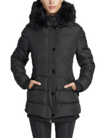 Aspen Short Length Hooded Vegan Storm Jacket in Black